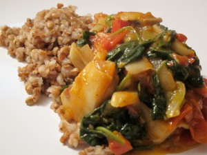 Kasha with Tomatoes, Mushrooms, and Spinach